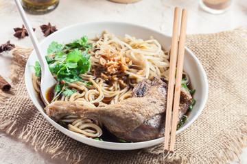 Delicious duck noodle soup