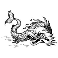 Mythological vintage sea monster. Fragment of old pirate map. Hand drawn sketch vector