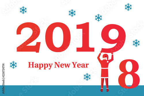 happy new year 2019 santa claus holds number 9 in hands beginning of new