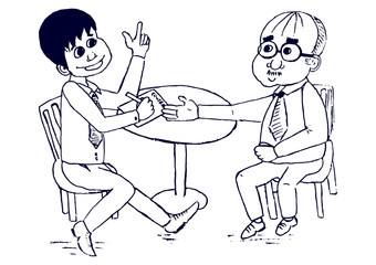 Smiling young businessman making a deal with an old businessman sitting at a round table. Vectro cartoon characters.