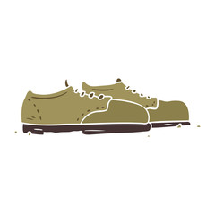 flat color style cartoon old shoes