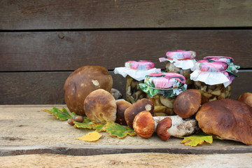 Jars with pickled mushrooms surrounded by freshly picked boletuses