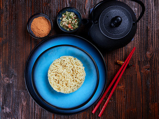Ingredients for Shin Ramyun, a popular Korean noodle dish with an intense spicy flavour
