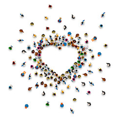 Crowd of people in the form of a heart symbol on a white background . Vector illustration