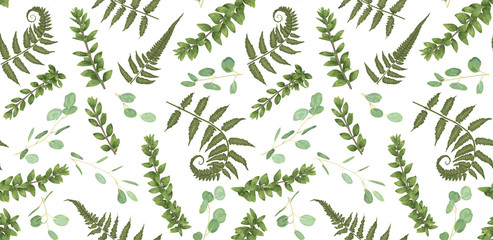 Seamless pattern, background, texture print with light watercolor hand drawn green eucalyptus ,forest fern, branches boxwood, buxus. Tender, elegant textile fabric