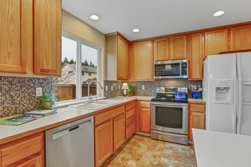 Kitchen interior with tone natural wood