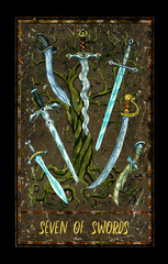 Seven of swords. Minor Arcana tarot card. The Magic Gate deck. Fantasy graphic illustration with occult magic symbols, gothic and esoteric concept