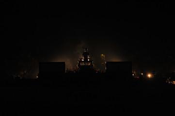 Silhouette the monument of King Ramkhamhaeng, Sukhothai Historical Park, Sukhothai, Thailand
