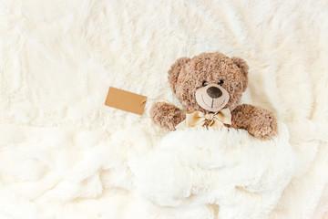 children's toy sleeps under the blanket. copy space. Selective focus.