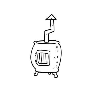 line drawing cartoon pot bellied stove