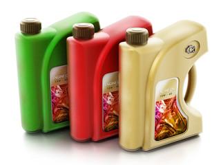 Set of engine oils isolated on white background. 3D illustration