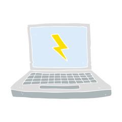 flat color illustration of a cartoon laptop computer