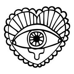 line drawing cartoon love heart eye tattoo