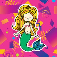 Foto op Aluminium Zeemeermin Cute cartoon mermaid girl illustration