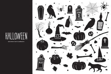 Happy Halloween. Cartoon set of black holiday elements: raven, bones, pumpkin, tombstone, spider, cauldron with potion, cat. Halloween silhouettes. Vector illustration.