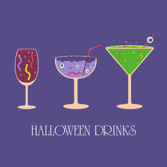 Set of Halloween cocktail icons, spooky drinks with eyeballs, spider, worms, bubbles and other creepy symbols.