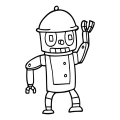 line drawing cartoon robot waving