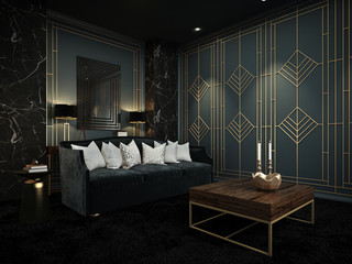 Sofa in home theater room, Art Deco interior, 3D render