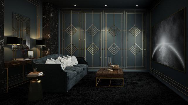 Home Theater room, Art Deco interior, 3D render