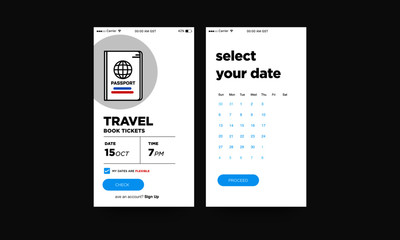 Travel App UX and UI For Phone Screen with Simple Passport Vector Illustration