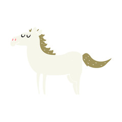 flat color illustration of a cartoon horse