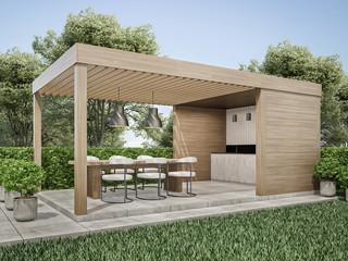 Exterior pergola dinning area in backyard 3D render Wall mural