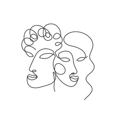 woman and man face line art