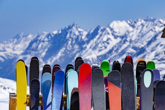 ski rack full of skis