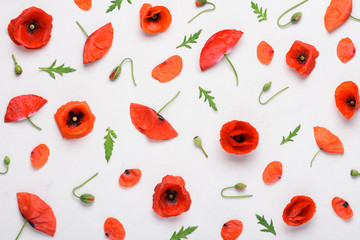 Poppy flowers pattern on white concrete background