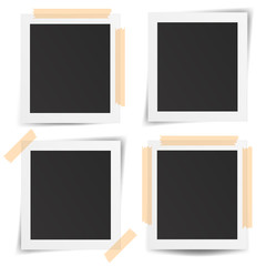 Set of realistic old photo frames isolated on white background.