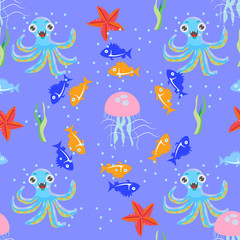 Seamless vivid picture of sea world with fish, octopus, jellyfish, starfish and seaweed