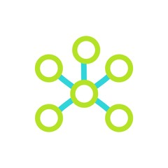 Chemical and physical atoms molecules template icon