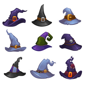 Vector Collection Of Cartoon Witch Hats For Your Halloween Design