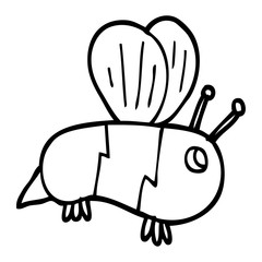 line drawing cartoon bumble bee