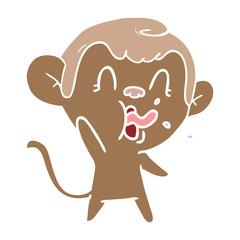 crazy flat color style cartoon monkey
