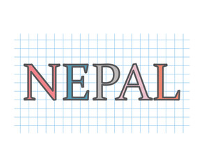 Nepal on checkered paper texture- vector illustration
