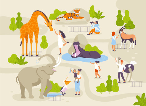 Zoo park with funny animals and people interacting with them vector flat illustrations. Animals in zoo infographic elements with adults and children cartoon characters walking in the park map creating