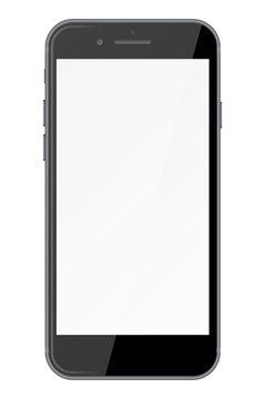 Smart phone with blank screen isolated on white background.
