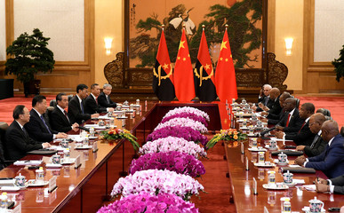 Chinese President Xi Jinping meets with Angolan president Joao Lourenco at the Great Hall of the People in Beijing