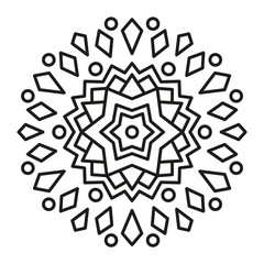 Cute Christmas Mandala for Coloring.