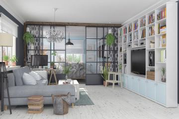 Skandinavische, nordische Wohnung - Wohnzimmer und Schlafzimmer in einem Raum