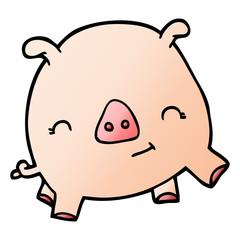 cartoon doodle happy pig