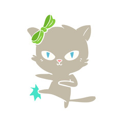 cute flat color style cartoon cat