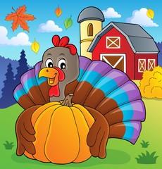 Turkey bird holding pumpkin theme 2