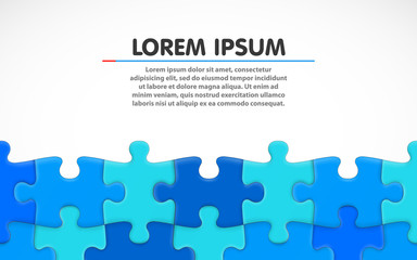 Blue jigsaw puzzle. Blank simple background. Vector illustration