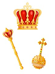 Crown, scepter and orb on a white background. Cartoon style. Vector illustration of royal attributes of power.  Symbol of the monarchy.