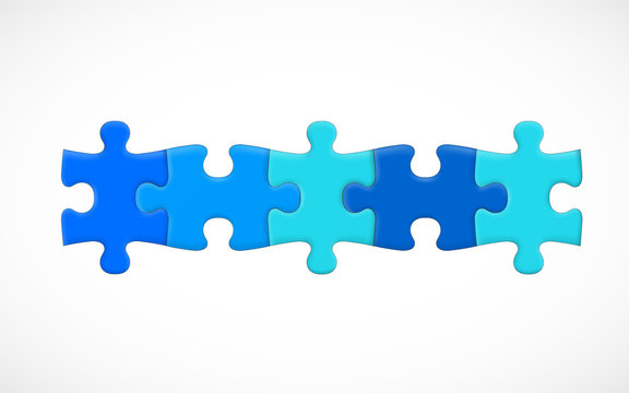 Five piece puzzle connected in line. Solution concept. Vector illustration