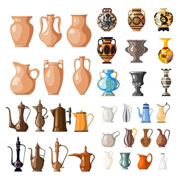 Large set of vessels for fluid. Amphoras, jugs, vases. Coffee maker. Earthen vessel Vector illustration of items on a white background