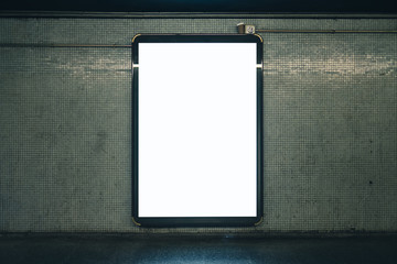 Metro light box with blank space for advertisement. Mock-up design. Horizontal Fotomurales