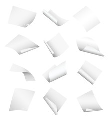 Set of vector white empty papers flying or falling in different positions with curled and twisted edges isolated on white background